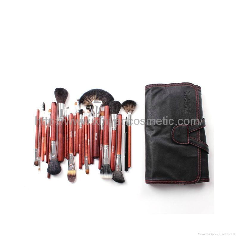 厂家定制生产24支黄狼毛羊毛化妆套刷 化妆师彩妆专业动物毛套装 4