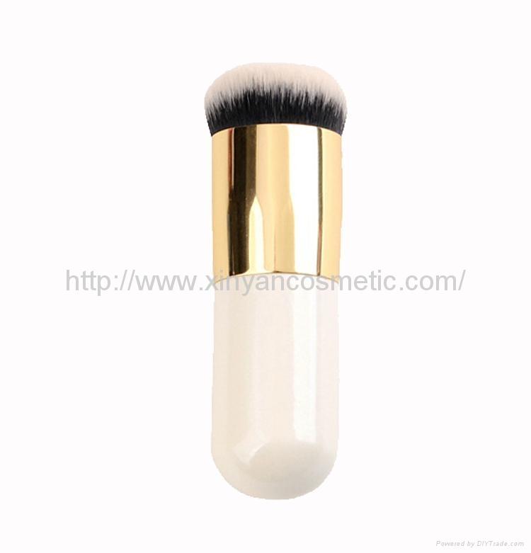OEM Aluminum tube Flat Wet and dry powder makeup brush Small fat makeup brush
