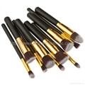 廠家供應10支新款木柄化妝刷 美妝化裝工具 化妝掃套裝 4