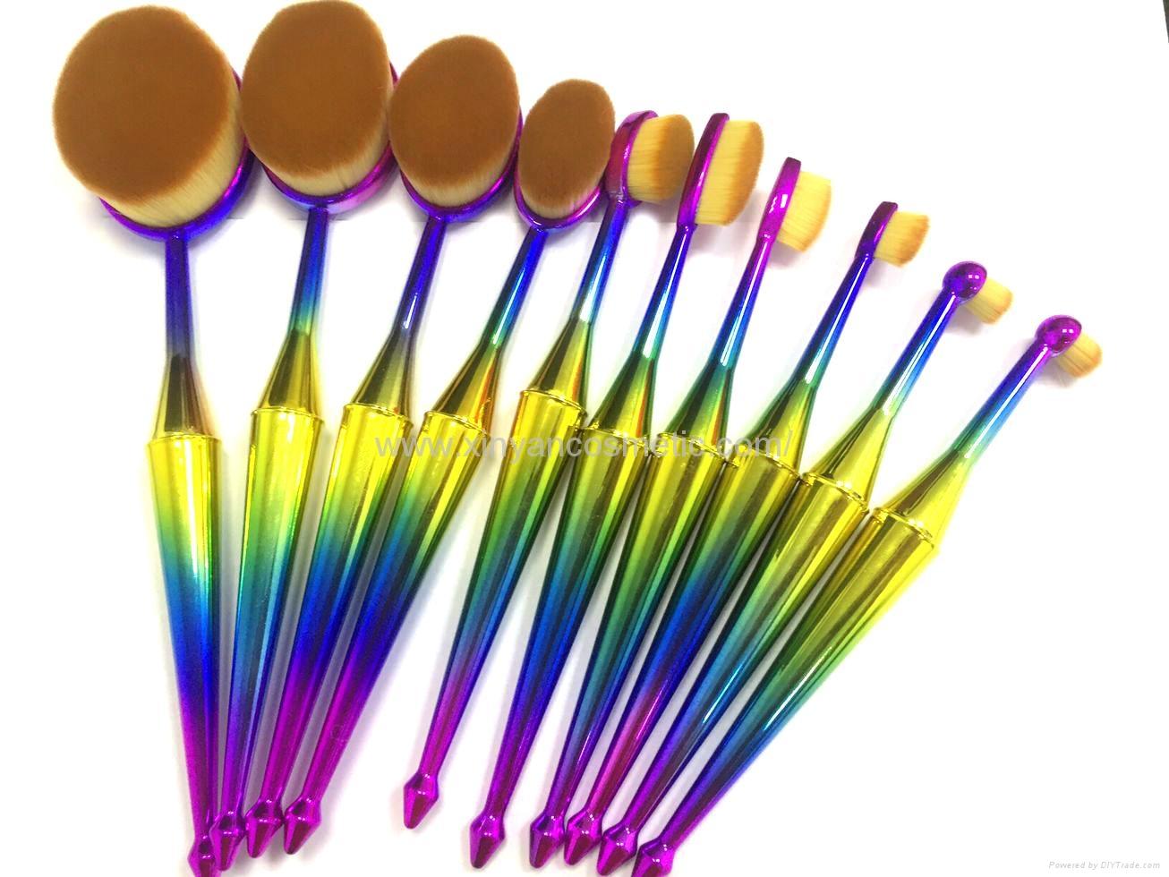 厂家供应美人鱼柄10支多功能化妆刷 美容美妆工具 化妆套扫