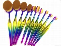 廠家供應美人魚柄10支多功能化妝刷 美容美妝工具 化妝套掃