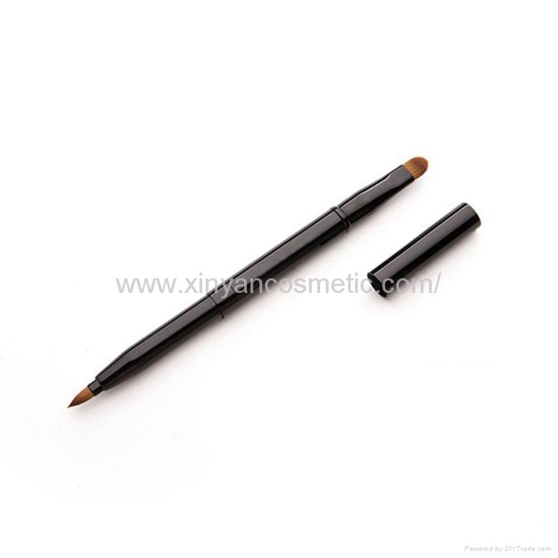 廠家供應便攜款金色/銀色雙頭戴帽化妝掃 美妝易攜帶化妝刷lips 3