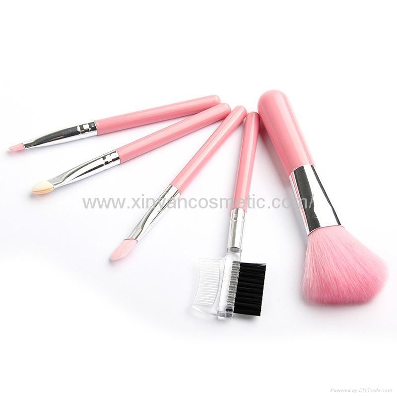 廠家供應木柄人造毛便攜款5支裝禮品化妝套刷 美容化妝套掃 3