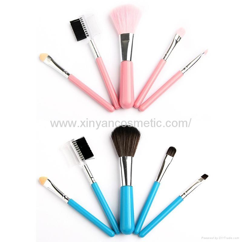 厂家供应木柄人造毛便携款5支装礼品化妆套刷 美容化妆套扫 4