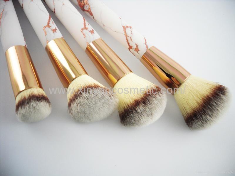 厂家供应大理石纹亚克力柄人造毛四支化妆套刷 黑白两款 可定制 2
