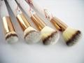 厂家供应大理石纹亚克力柄人造毛四支化妆套刷 黑白两款 可定制