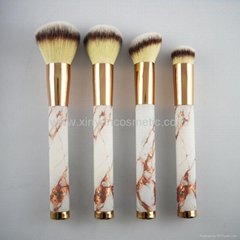 Manufacturer supply MARBLE Acrylic handle Artificial wool 4 in 1 cosmetic brush (Hot Product - 1*)