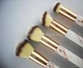 厂家供应大理石纹亚克力柄人造毛四支化妆套刷 黑白两款 可定制 3