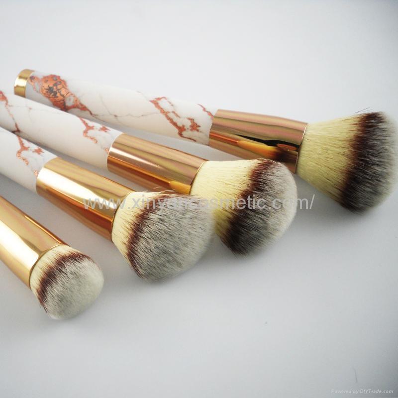 厂家供应大理石纹亚克力柄人造毛四支化妆套刷 黑白两款 可定制 4