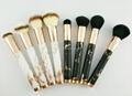 厂家供应大理石纹亚克力柄人造毛四支化妆套刷 黑白两款 可定制 5