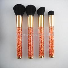 廠家供應高檔精美亞克力柄碎金粉四支套刷  美容美妝化妝掃