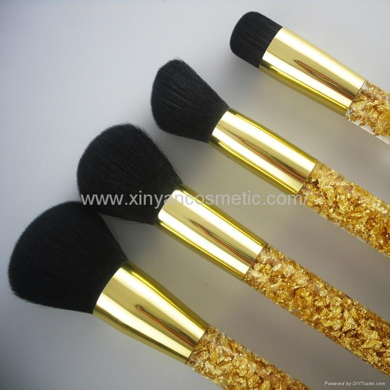 厂家供应高档精美亚克力柄碎金粉四支套刷  美容美妆化妆扫 4