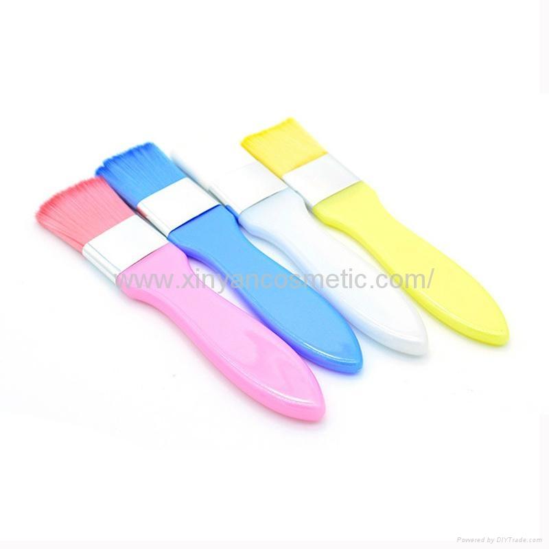 廠家供應彩色膠柄扁平面膜刷化妝刷 美容美妝工具化妝掃 2