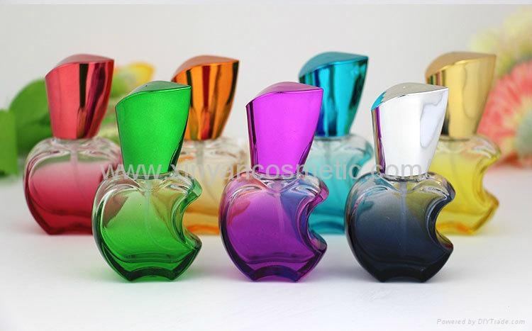 新妍美供应15ml苹果款香水瓶 彩色玻璃喷雾瓶 铝喷头 空瓶 香水分装瓶 1