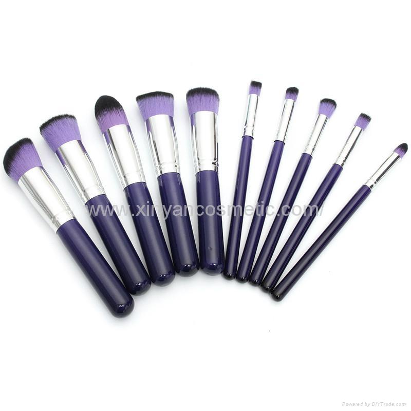新妍美厂家供应10支木柄精美梦幻紫色化妆刷 美容美妆工具 1