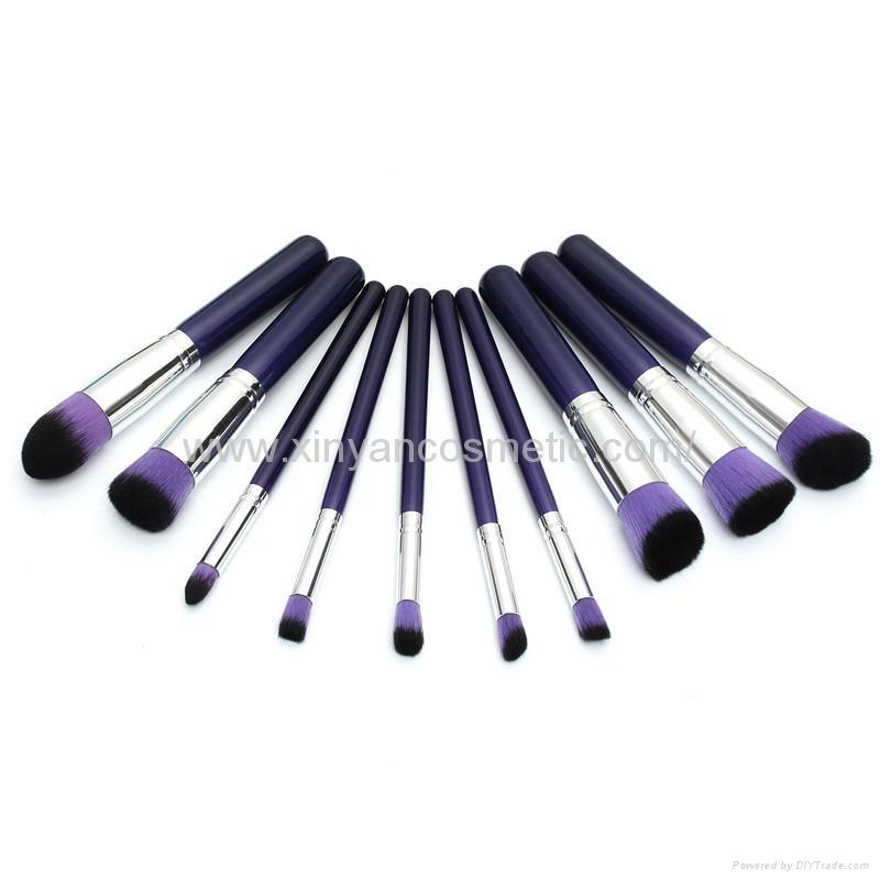 新妍美厂家供应10支木柄精美梦幻紫色化妆刷 美容美妆工具 6