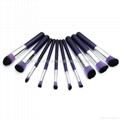 新妍美厂家供应10支木柄精美梦幻紫色化妆刷 美容美妆工具