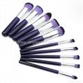 新妍美厂家供应10支木柄精美梦幻紫色化妆刷 美容美妆工具 7