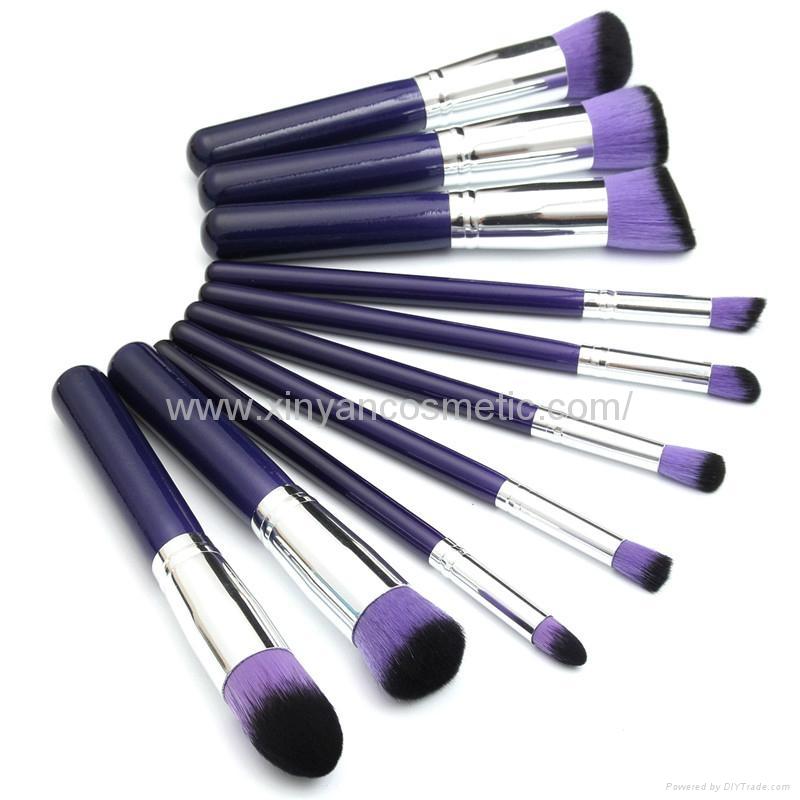 新妍美廠家供應10支木柄精美夢幻紫色化妝刷 美容美妝工具 8