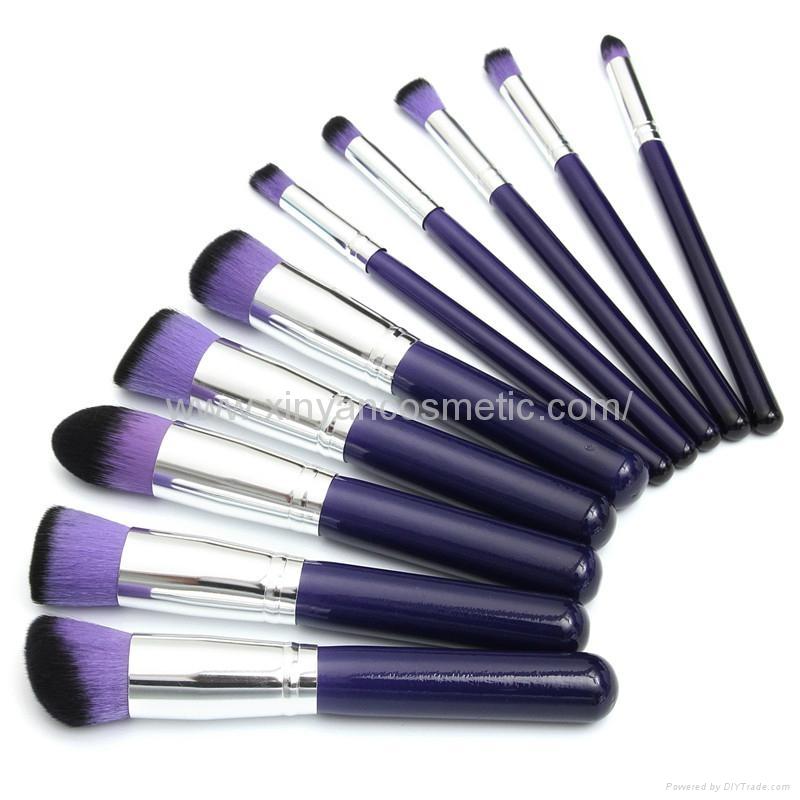 新妍美廠家供應10支木柄精美夢幻紫色化妝刷 美容美妝工具 9
