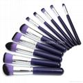 新妍美廠家供應10支木柄精美夢幻紫色化妝刷 美容美妝工具