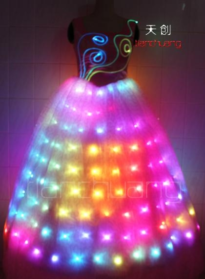 LED发光裙,LED发光礼服,发光新娘装 1