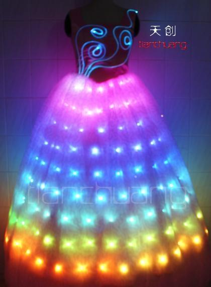 LED发光裙,LED发光礼服,发光新娘装 5