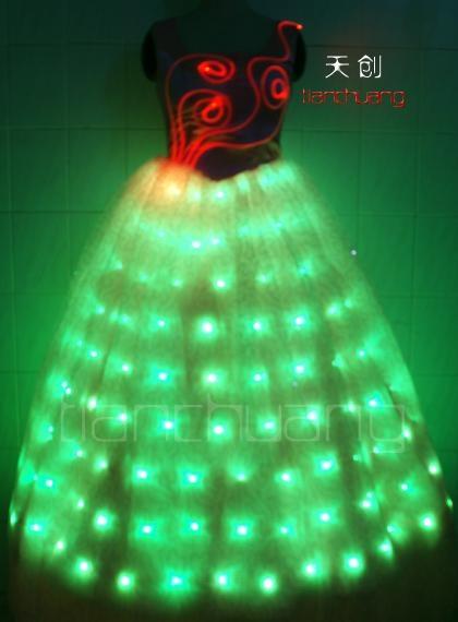 LED发光裙,LED发光礼服,发光新娘装 6