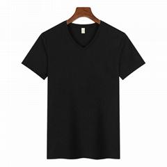Plain White blank cotton T-shirts V-neck Basic Tees