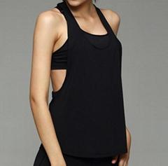 黑色白色空白速干运动背心 瑜伽健身低领背心