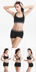 運動文胸短褲套裝 瑜伽健身跑步套裝 無鋼圈運動背心睡衣