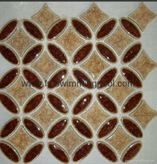 Copper coin shape glass Mosaic