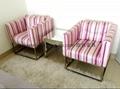 奢華單人沙發(粉色條紋)
