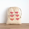 Lingerie bag - hand printed in pink and