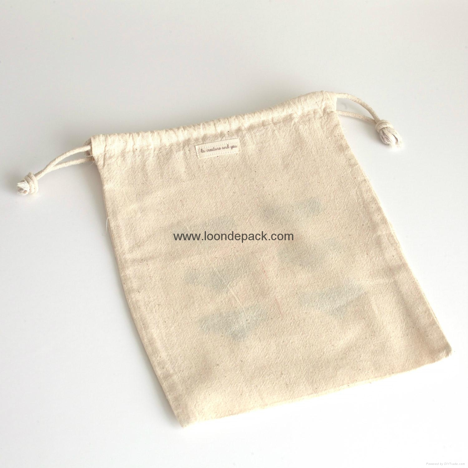 Lingerie bag - hand printed in pink and gold on cotton drawstring ...