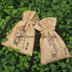 4 x 6 Inch outstanding printed hessian drawstring bag with ribbon tie