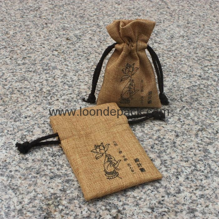 4 x 6 Inch outstanding printed hessian drawstring bag with ribbon tie 4