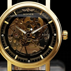 2015 WINNER brand fashion men mechanical hand-wind skeleton dial genuine leather