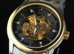 2015 New Men Fashion men watch Male Round Mechanical skeleton Watch Men (Hot Product - 1*)