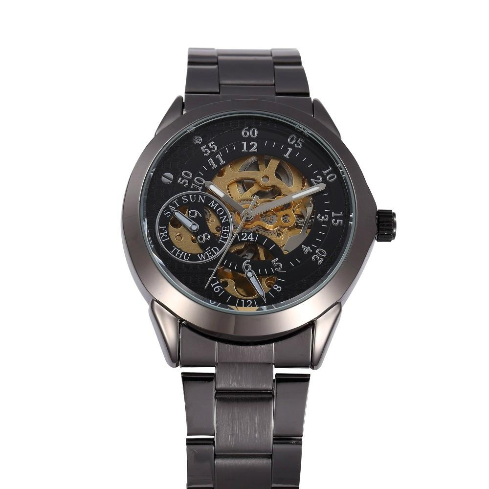 Luxury Black Shenhua Chronograph Clock Automatic Stainless Men watch 6