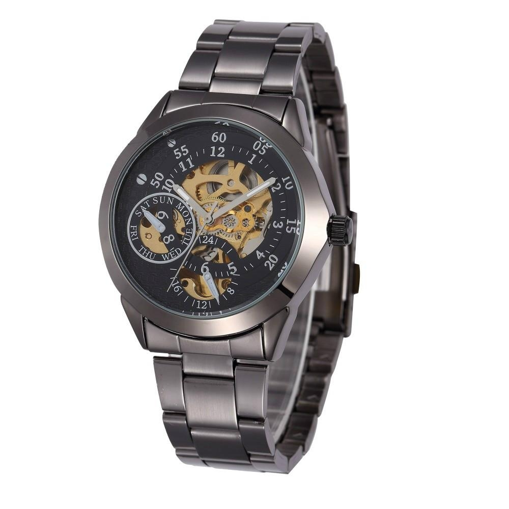 Luxury Black Shenhua Chronograph Clock Automatic Stainless Men watch 8