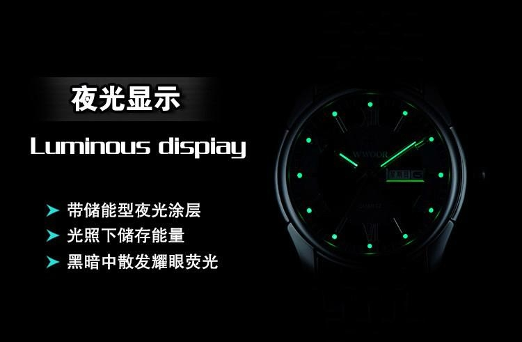 Men's Watch Auto Date Stainless Steel Relojes Back Light Hours Clock 6