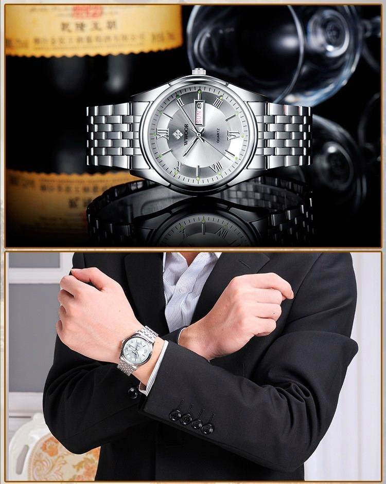 Men's Watch Auto Date Stainless Steel Relojes Back Light Hours Clock 14