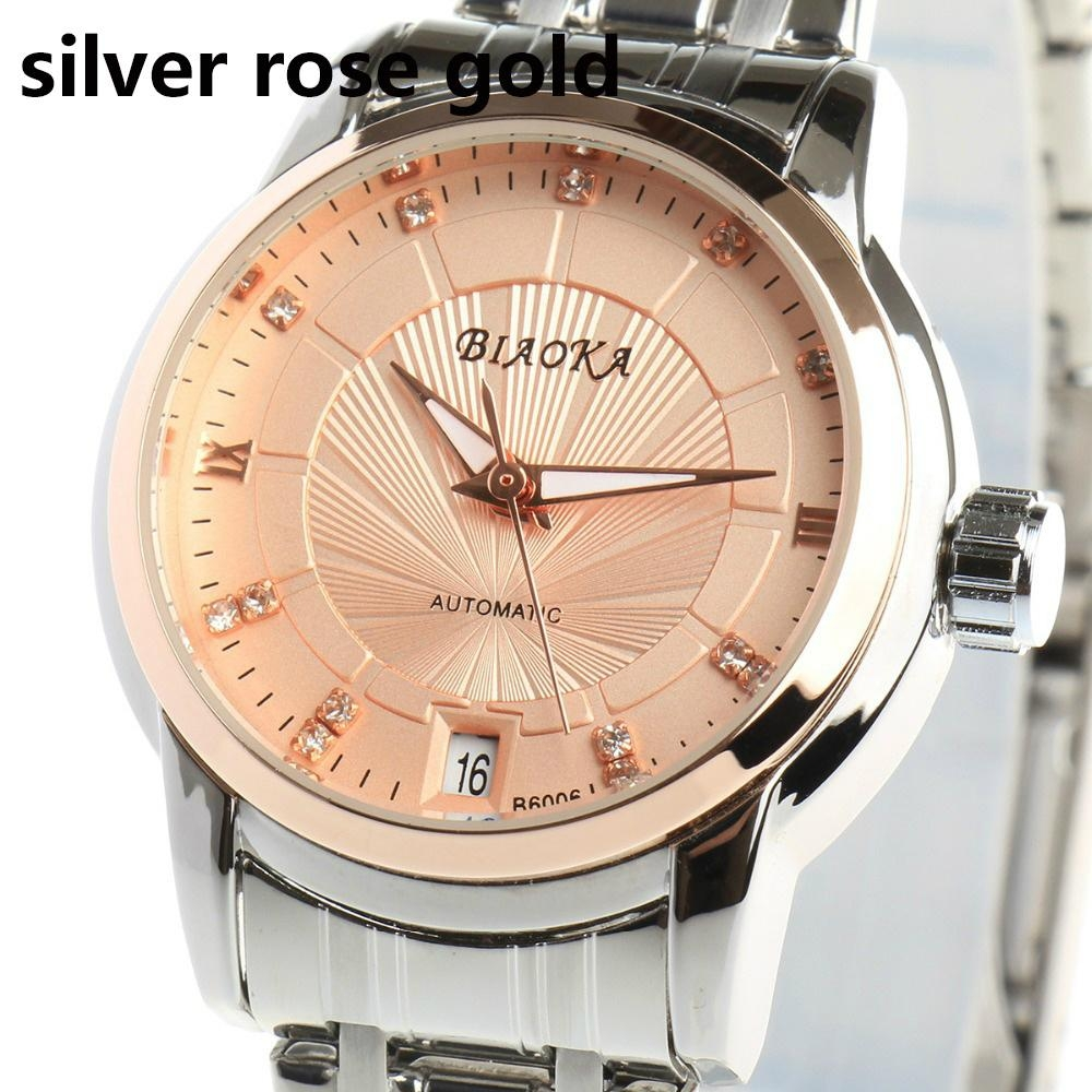 High Quality Waterproof Watches Women Full Stainless Steel Clear Mineral Glass L 7