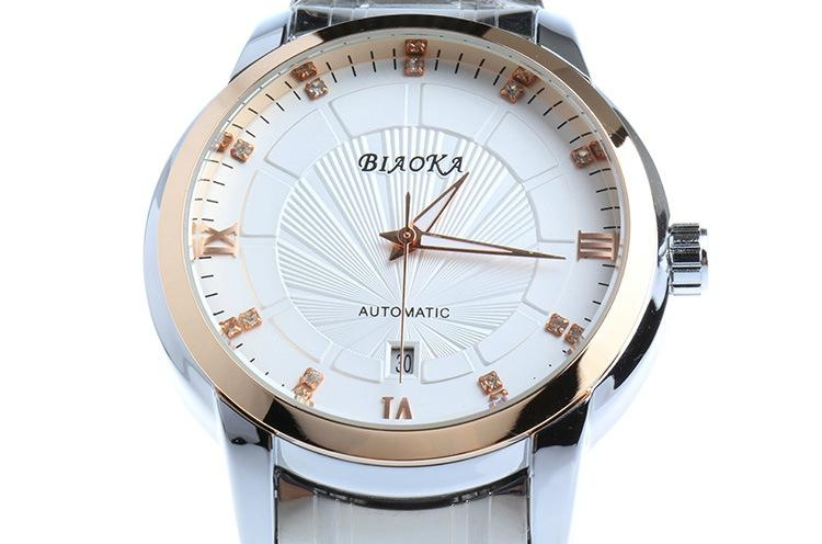High Quality Waterproof Watches Men Full Stainless Steel Clear Mineral Glass  2