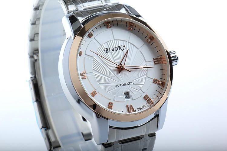 High Quality Waterproof Watches Men Full Stainless Steel Clear Mineral Glass  7