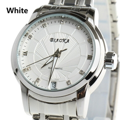 Classic Full Stainless Steel Clasp Watch Stamp Calendar Clear Mineral Glass Silv