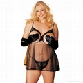 Plus Size Cupless Babydoll Set