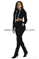 Velvet Hooded Crop Top And Long Pants Set 2