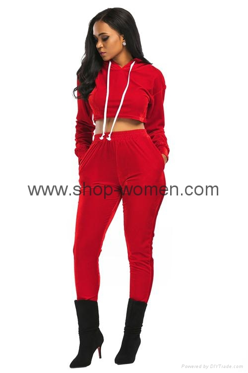 Velvet Hooded Crop Top And Long Pants Set 3